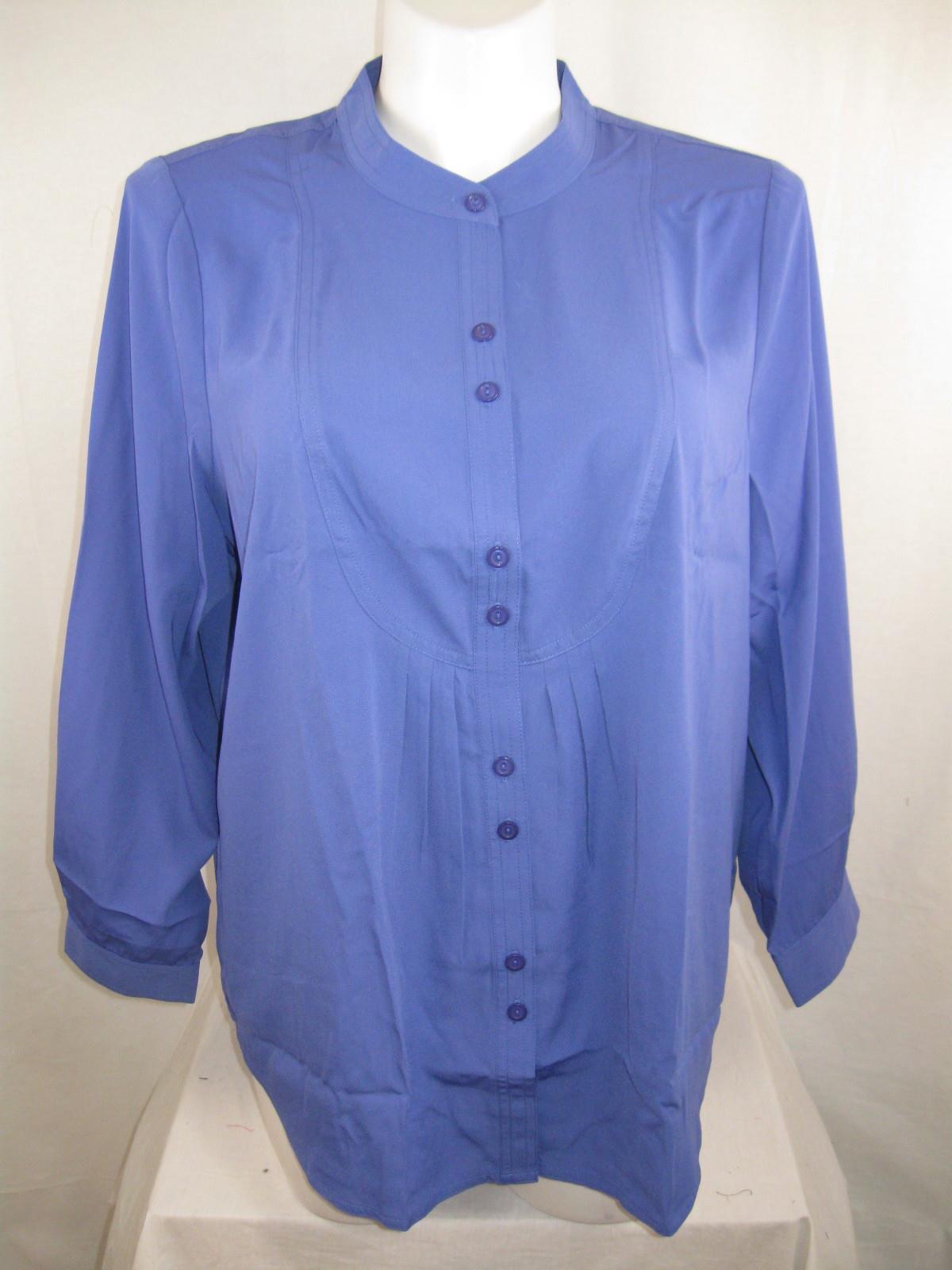 Susan Graver Plus Size Cool Peach Oversized Button Up Shirt W Front Tucks