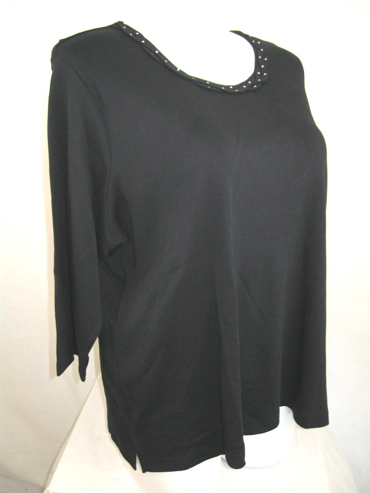 Quacker factory plus size braided sparkle 3 4 sleeve t for 3 4 sleeve shirt template