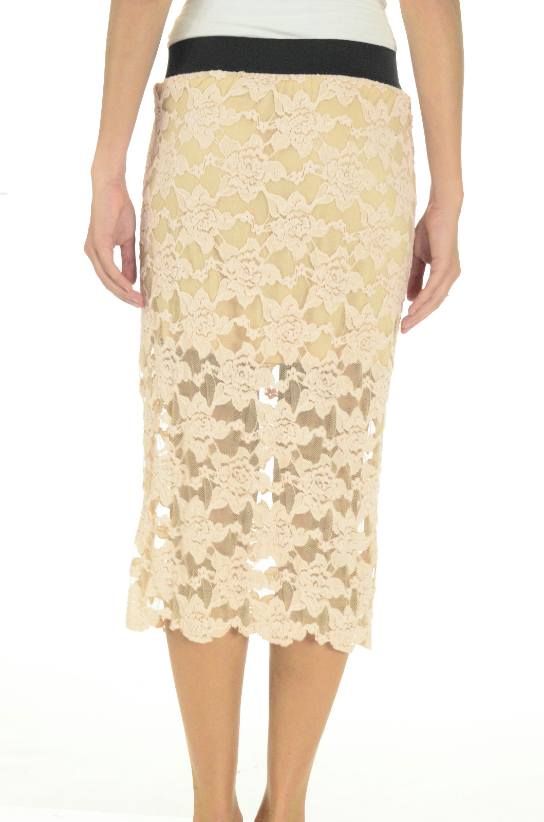 free everything rosey lace pencil skirt elastic