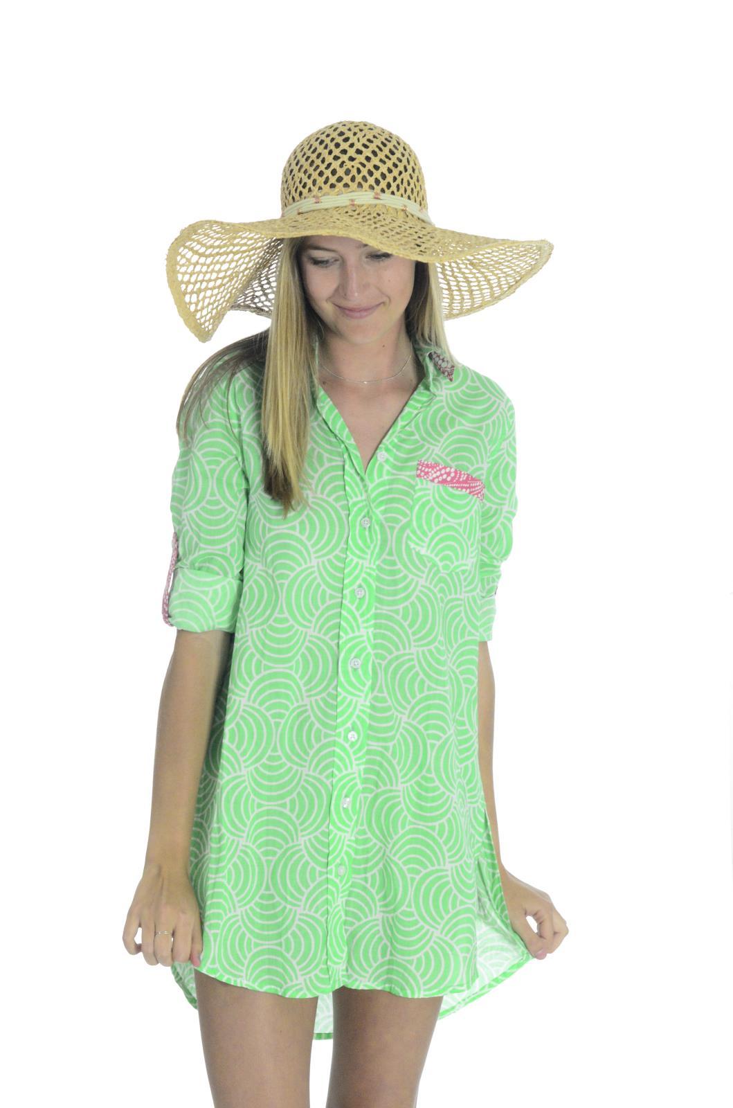 Hiho 100 voile cotton printed barbara beach shirt dress for Beach shirt cover up