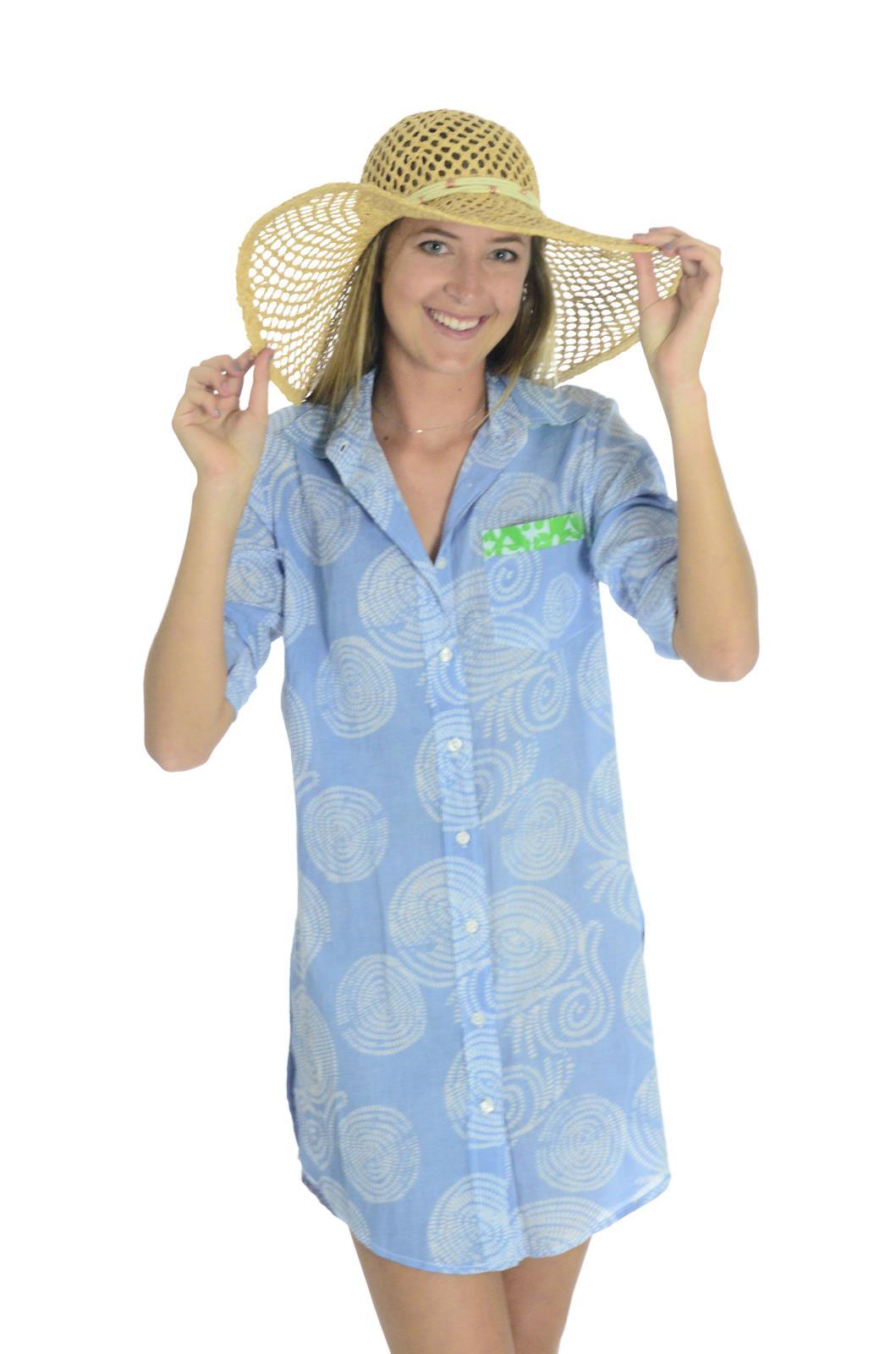 Hiho 100 voile cotton printed barbara beach shirt dress for 100 cotton dress shirt