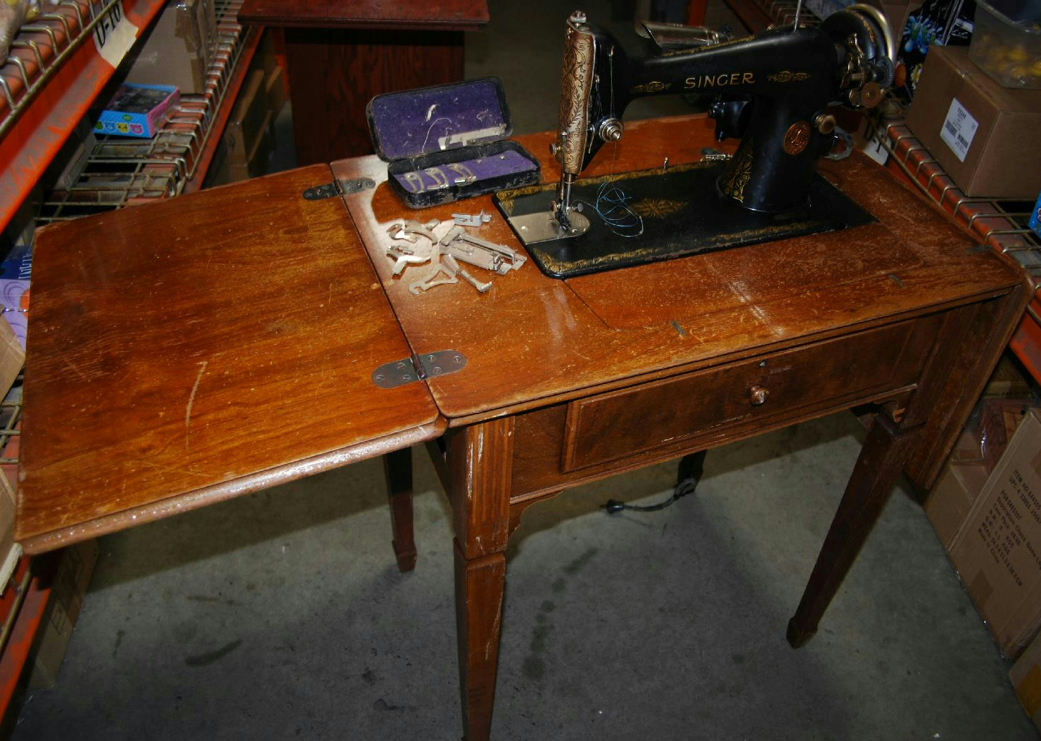 wood sewing machine table