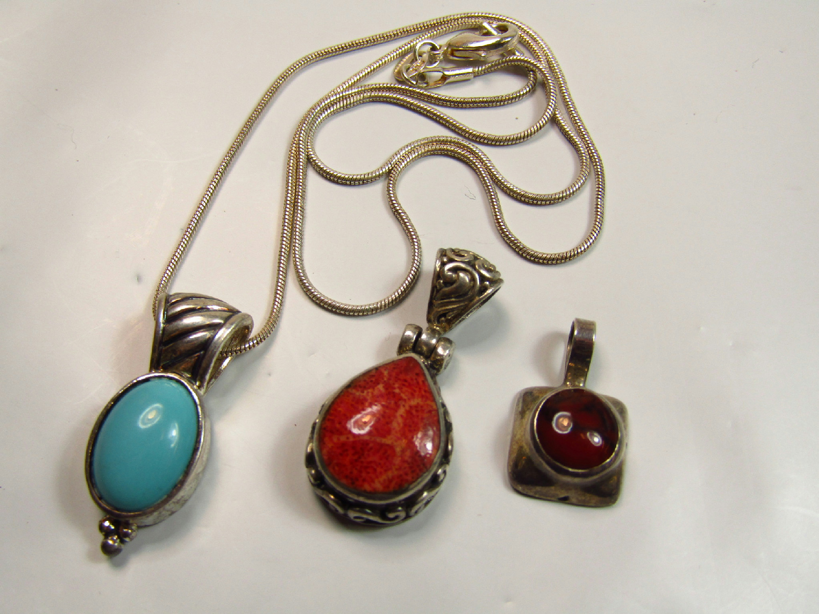 Sterling silver jewelry turquoise blue red coral color pendants 18 image is loading sterling silver jewelry turquoise blue red coral color mozeypictures Image collections